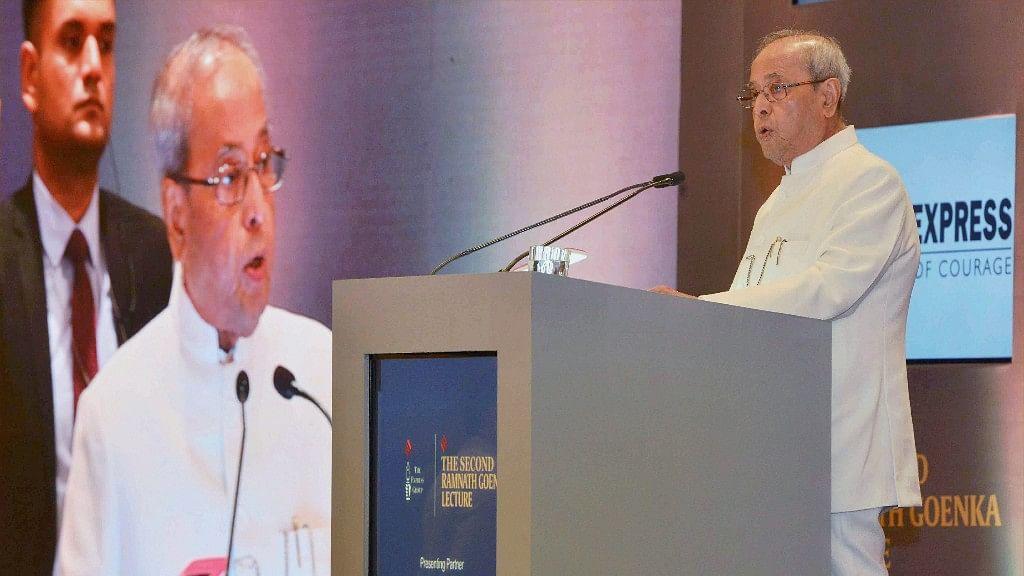 President Pranab Mukherjee speaks during the Ramnath Goenka Memorial Lecture in New Delhi on Thursday. (Photo: PTI)