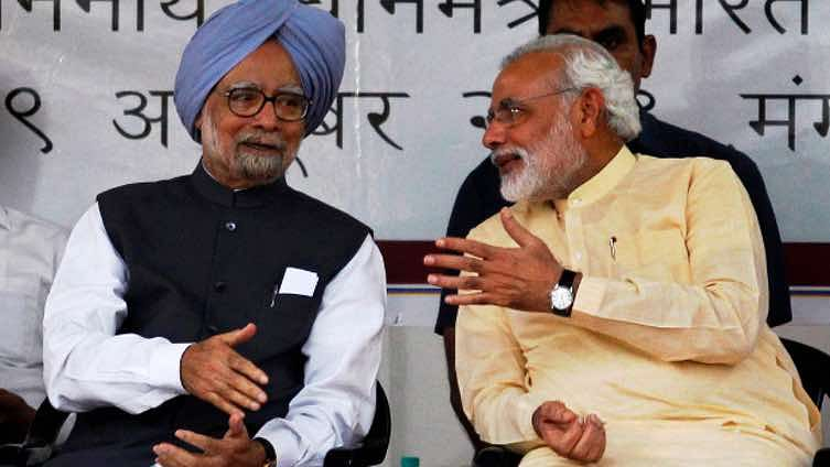 Prime Minister Modi questioned former Prime Minister Manmohan Singh's 'secret meeting' with Pakistani officials at Mani Shankar Aiyar's house. File photo of the leaders.