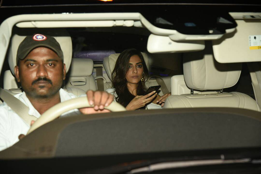 Sonam Kapoor is busy on her phone. (Photo: Yogen Shah)