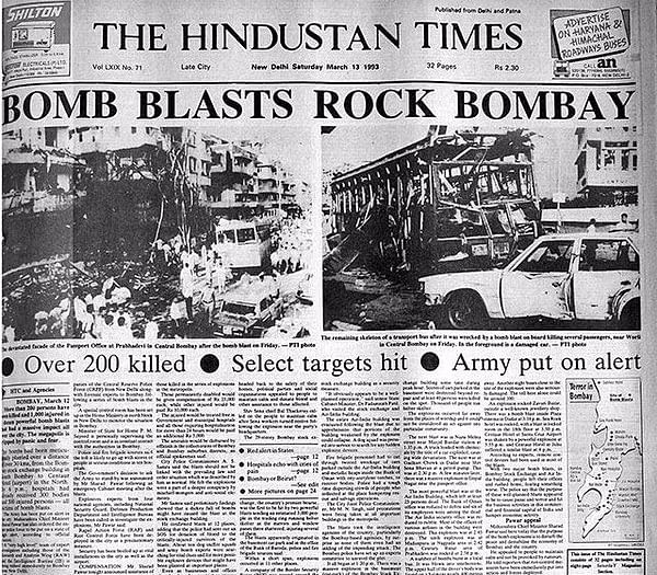 The front page of Hindustan Times the day after the Mumbai blasts.
