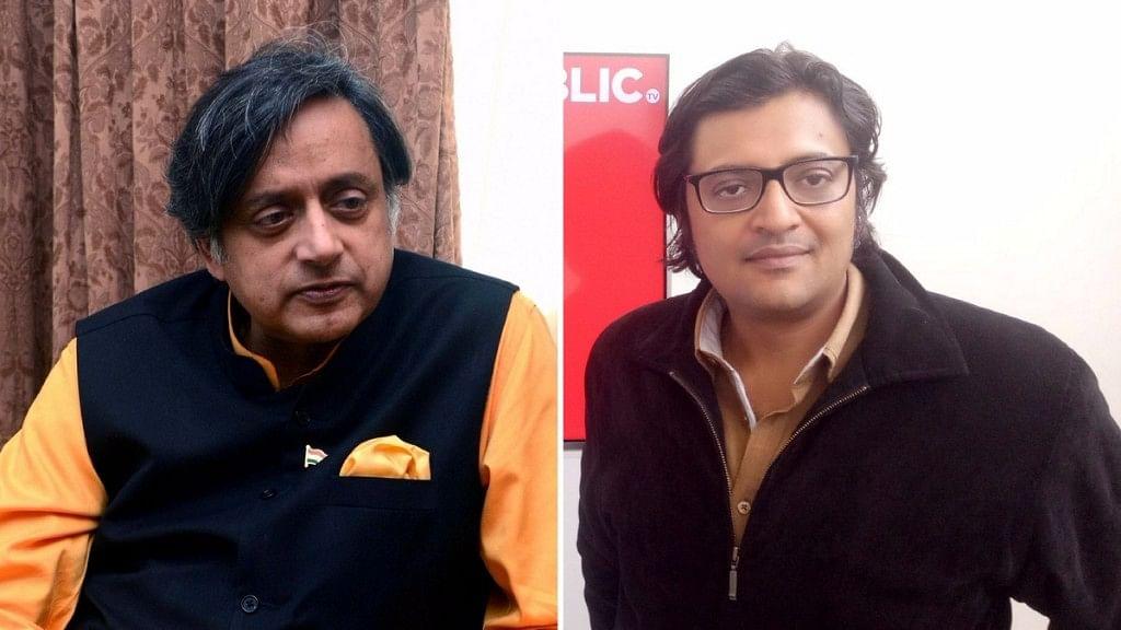 Shashi Tharoor vs Republic TV. (Photo: Altered by <b>The Quint</b>)&nbsp;