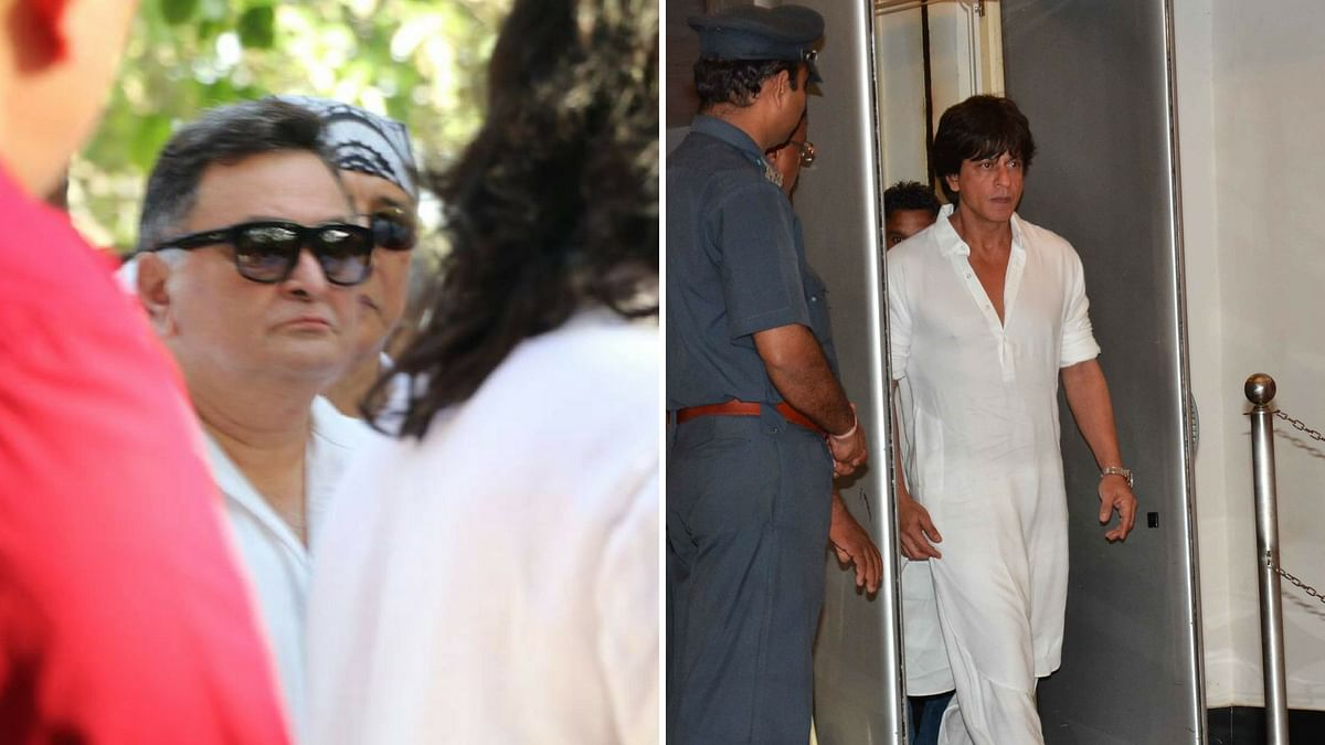 Rishi Kapoor at the funeral; Shah Rukh at the prayer meet. (Photo: Yogen Shah)