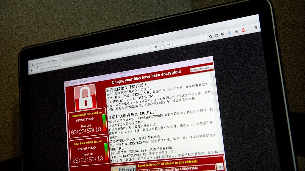 Screenshot of the warning screen of WannaCry ransomware.