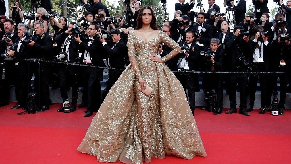 Sonam Kapoor's look on day 6 at the 71st Cannes Film Festival. (Photo: Reuters)