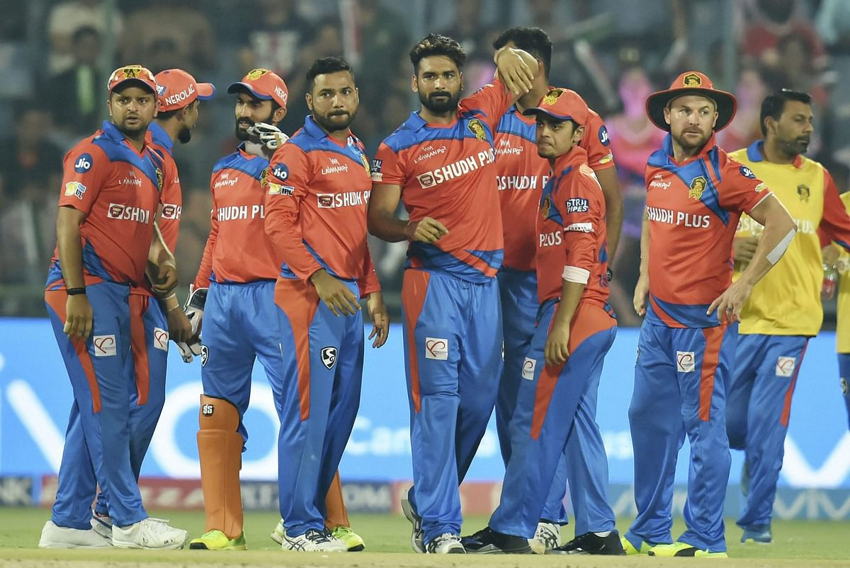 Gujarat Lions players celebrate a wicket in the match against Delhi. (Photo: PTI)