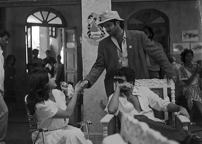Sridevi, Anil Kapoor and Shekhar Kapur behind the scenes of <i>Mr. India. </i>(Photo courtesy: <i>Mr. India</i> Team)