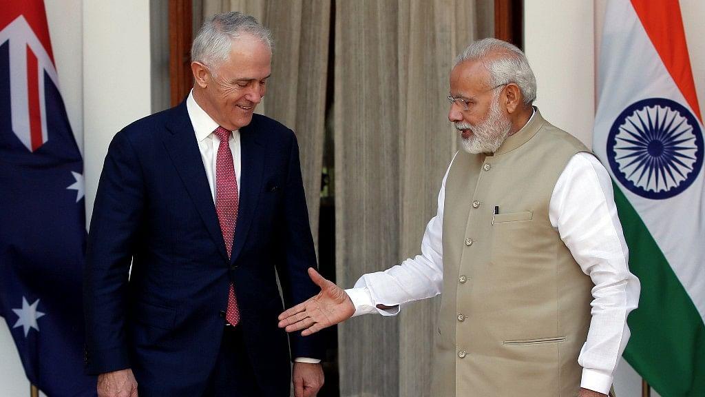 Indian Prime Minister Narendra Modi and his Australian counterpart Malcolm Turnbull in New Delhi. (Photo: Reuters)