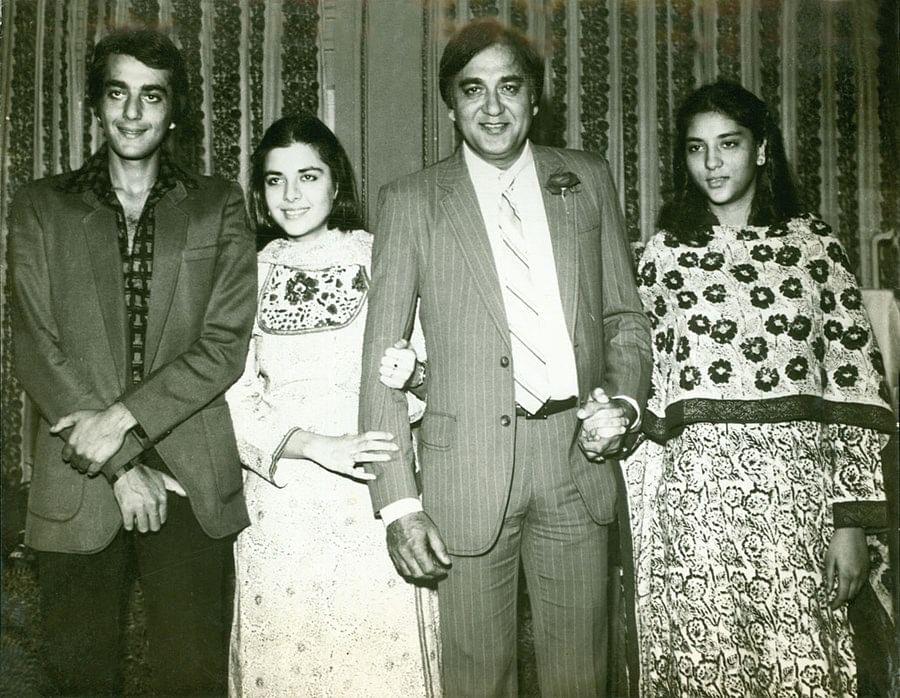 Sunil Dutt with his children Sanjay, Namrata and Priya.
