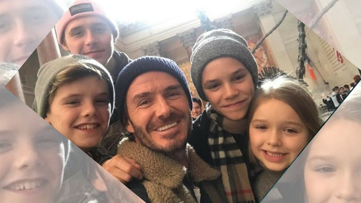 "David Beckham with his four children. (Photo Courtesy: Instagram/<a href=""https://www.instagram.com/davidbeckham/?hl=en"">@davidbeckham</a>)"