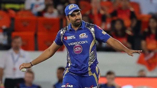 Mumbai Indians' Rohit Sharma gestures during an Indian Premier League match.