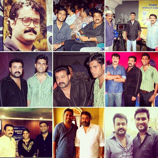 The writer Vivek Ranjit with Mohanlal over the years.