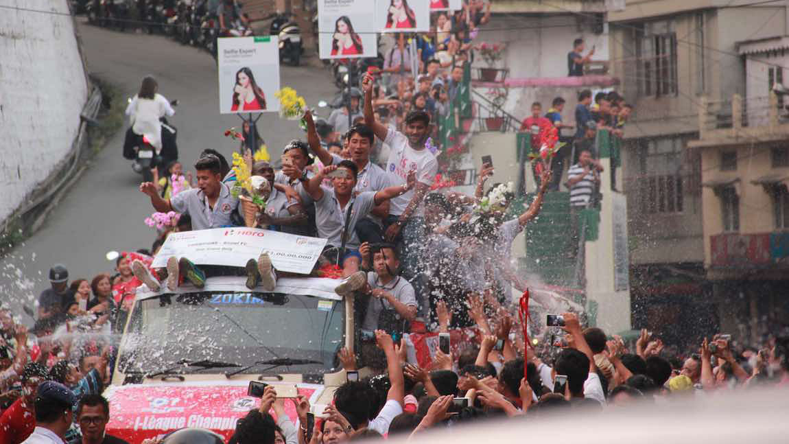 File photo of the Aizawl FC players celebrating their i-league victory. (Photo: Lal Zarzova)