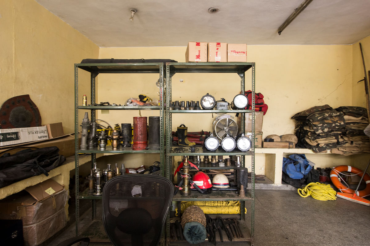 A room, on the first floor of the fire station, where all the equipment is stored. A person is designated to clean the room and equipment everyday. (Photo: Abhilash Mallick/<b>The Quint</b>)