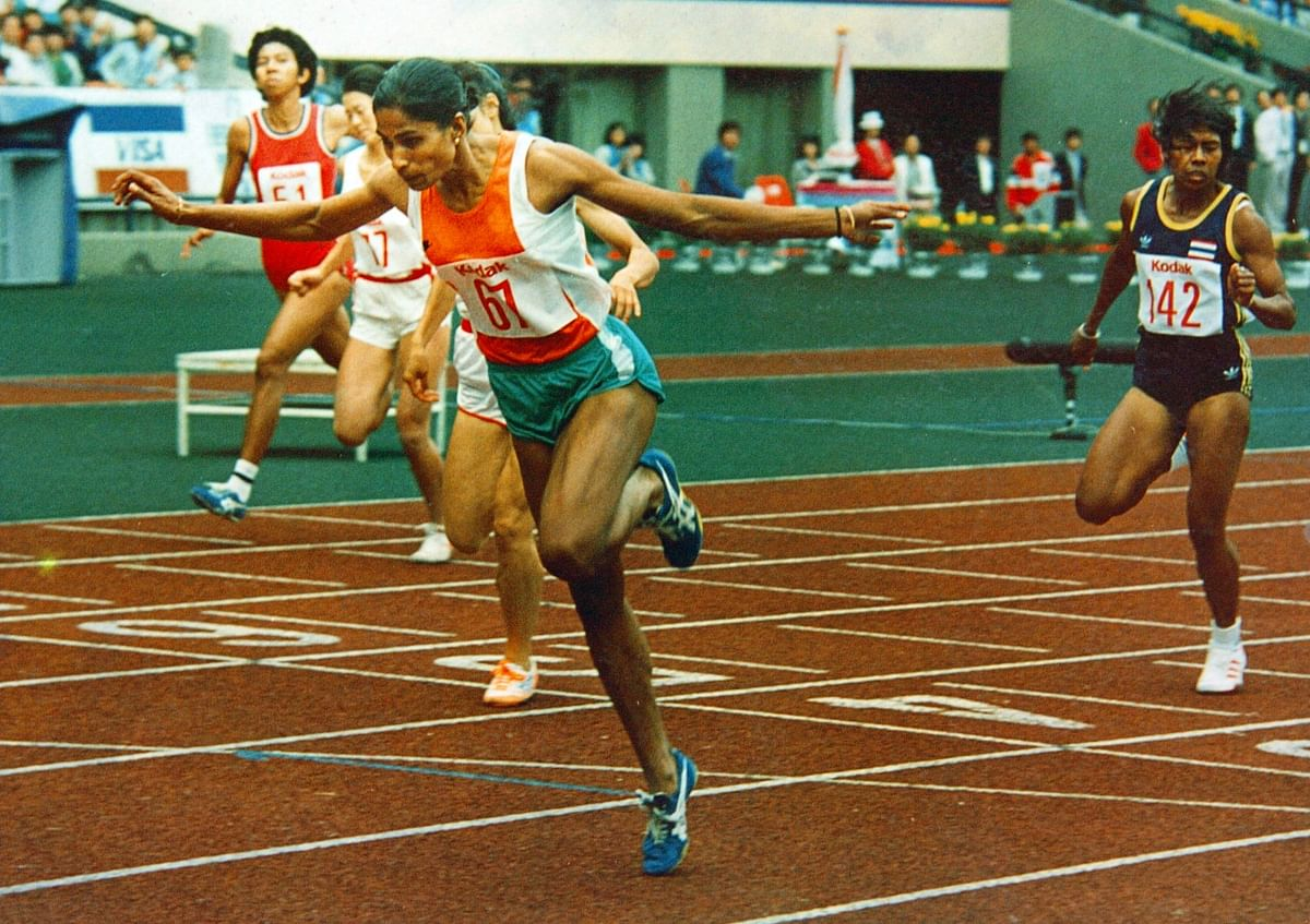 """PT Usha won four medals at the 1986 Asian Games. (Photo Courtesy: Facebook/<a href=""""https://www.facebook.com/PT.UshaOfficial/photos/a.1457610841164016.1073741826.1456831277908639/1532110273714072/?type=3&amp;theater"""">PT Usha</a>)"""