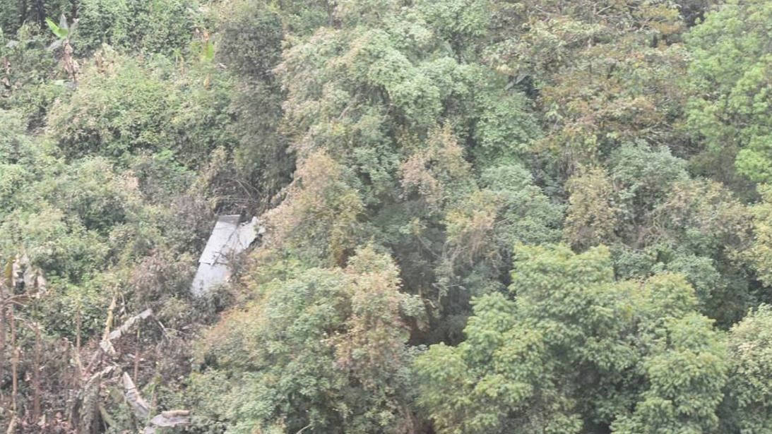 Inclement weather and thick vegetation surrounding the wreckage have made the operation to salvage the it difficult. (Photo: ANI)