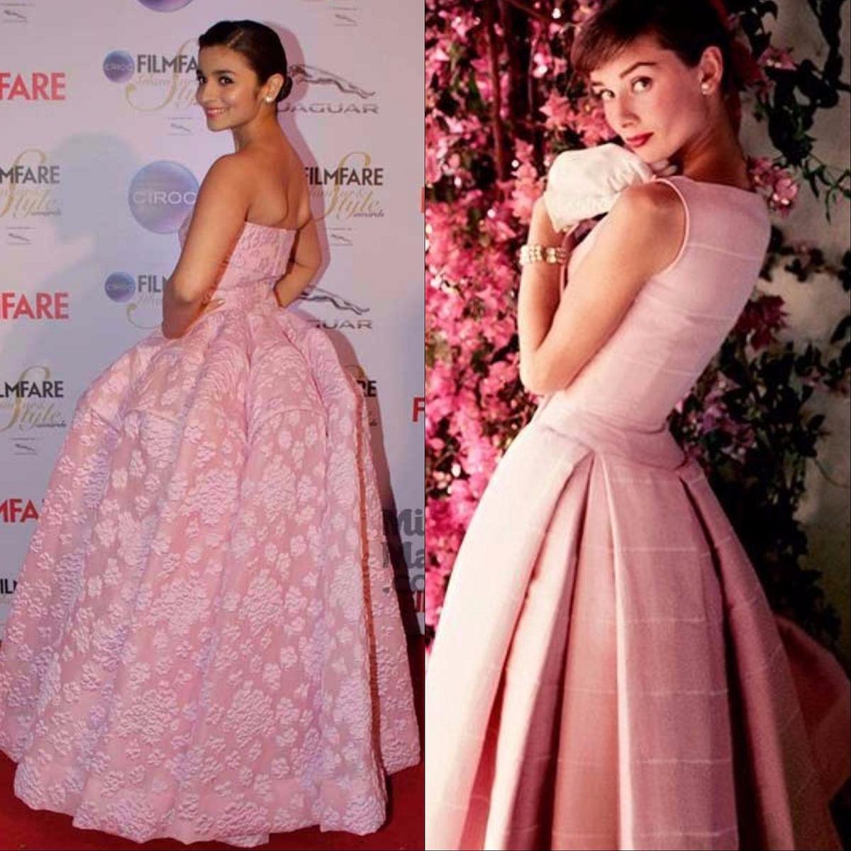 """<div class=""""paragraphs""""><p>Picture-Perfect-Pink. Alia Bhatt (L), Audrey Hepburn (R)</p></div>"""
