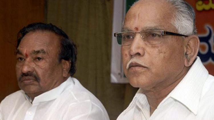 What began as a tiff between BS Yeddyurappa (right) and KS Eshwarappa (left) has taken a turn for the worse. (Photo Courtesy: The News Minute)