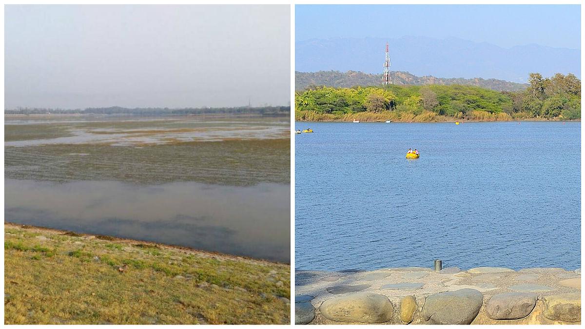 "Sukhna lake at present (left); Sukhna lake in March 2016 (right). (Photo Courtesy: WIkimedia Commons/Twitter: <a href=""https://twitter.com/Rishab_rally"">@Rishab_rally</a>)"