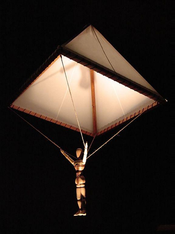An artist's 3D rendition of da Vinci's parachute design.