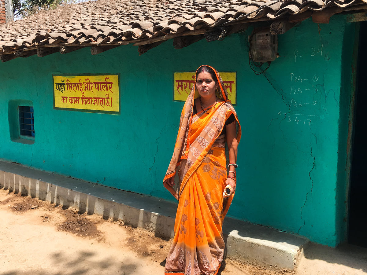 Hemalata Yadav outside her home in Sonakhan village. (Photo: Thomson Reuters Foundation/Rina Chandran)