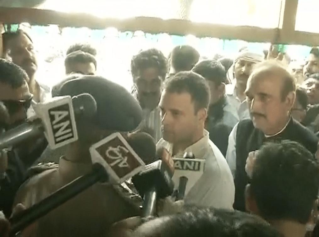 Rahul Gandhi interacting with the media in Saharanpur. ( Photo: ANI screengrab )