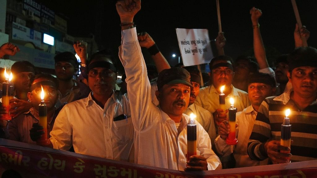 A protest march after the recent Maoist ambush in Sukma that killed 25 CRPF jawans. (Photo: AP)