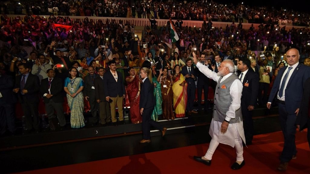 Prime Minister Modi addressed the gathering of about 3,000 in Hindi.