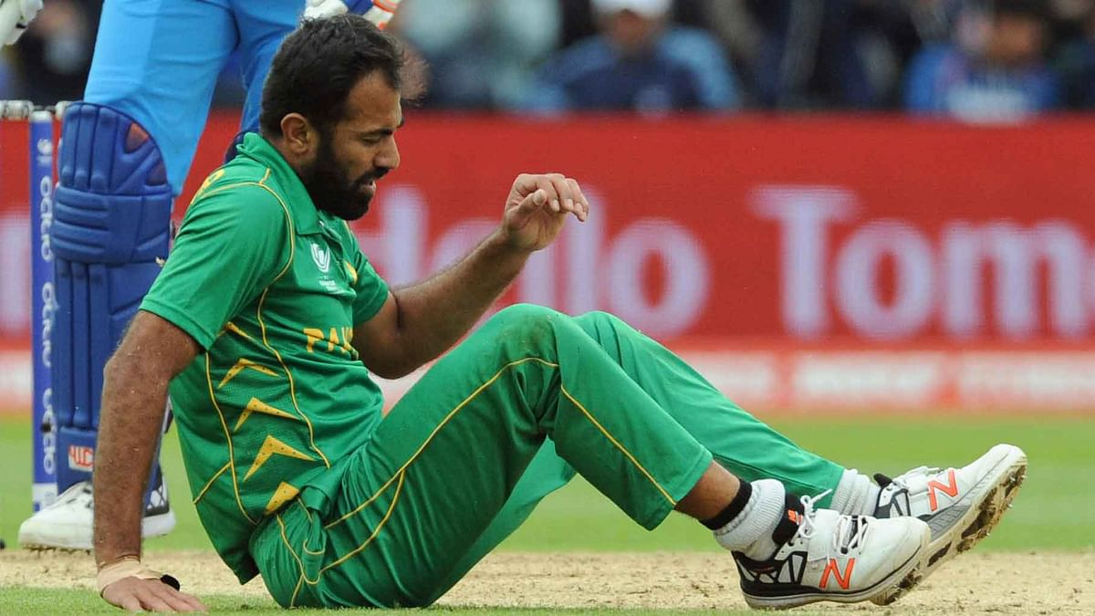 Pakistan's Wahab Riaz sustained an ankle injury during the Champions Trophy match against India at Edgbaston on Sunday. (Photo: AP)