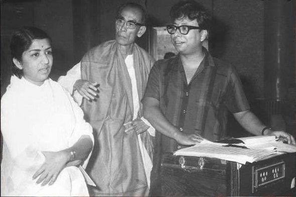 Lata Mangeshkar with SD Burman and RD Burman.