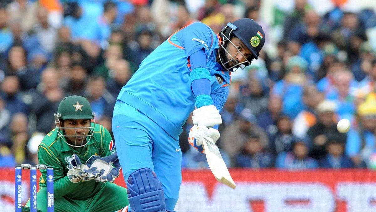 Yuvraj Singh playing his innings.