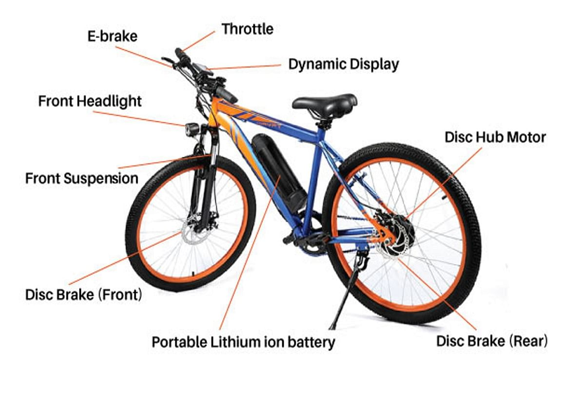 The various components of the Lightspeed Dryft electric bicycle.