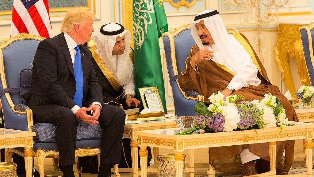 US President Donald Trump with Saudi King Salman bin Abdulaziz Al Saud.