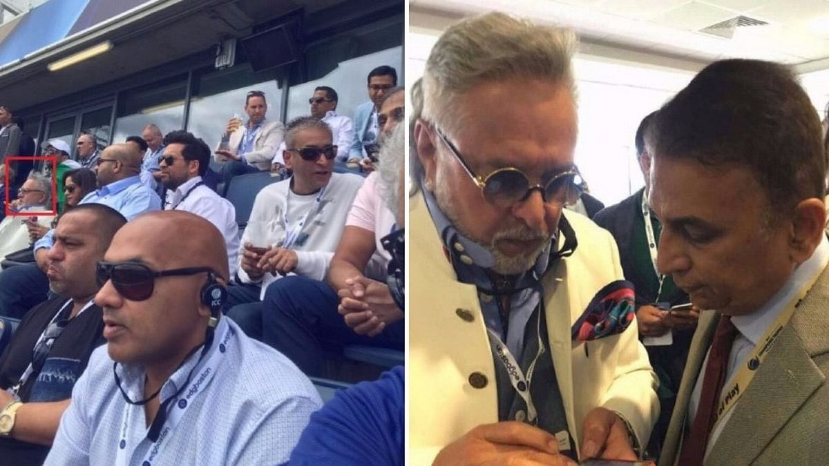 Vijay Mallya spotted at the Indo-Pak match on Sunday; Mallya with Sunil Gavaskar (right). (Photo Courtesy: Twitter Screenshot /Altered by <b>The Quint</b>)
