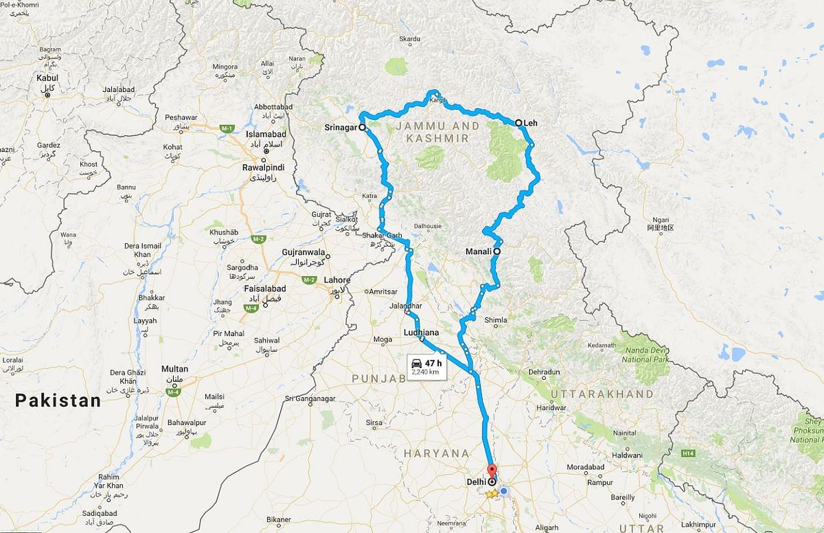 A trip from Delhi to Leh would take three days via Manali or Srinagar. (Photo: The Quint)