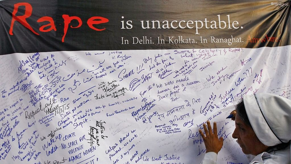 Signatures on an anti-rape banner. Photo used for representational purpose.