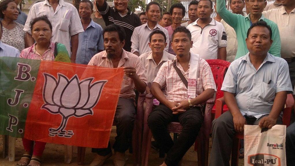 "Bachu Marak with other BJP supporters. (Photo Courtesy: Facebook/<a href=""https://www.facebook.com/bachumarak"">Bachu Chambugong Marak</a>)"