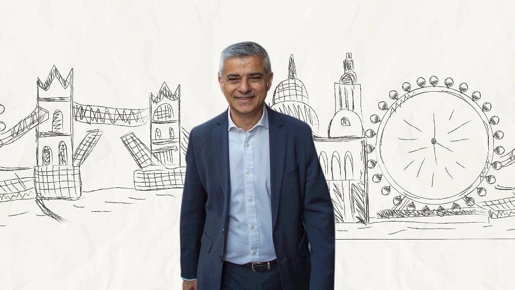London Mayor Sadiq Khan. (Photo: AP/Altered by <b>The Quint</b>)
