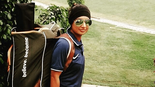 Mithali posing for a picture before a net session.