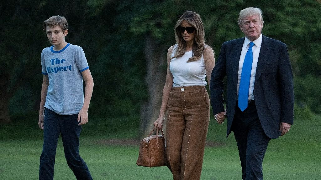 President Donald Trump, First Lady Melania Trump, and their son and Barron Trump.