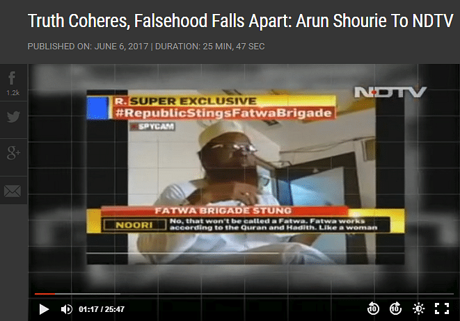 "NDTV takes a direct dig at Republic on Sreenivasan Jain's show <i>Reality Check </i>(Photo: Screengrab/<a href=""http://www.ndtv.com/video/shows/reality-check/truth-coheres-falsehood-falls-apart-arun-shourie-to-ndtv-459370"">NDTV</a>)"