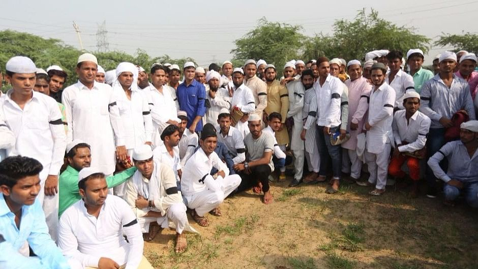 Residents of Ballabgarh village wore black armbands to protest the lynching of Junaid.
