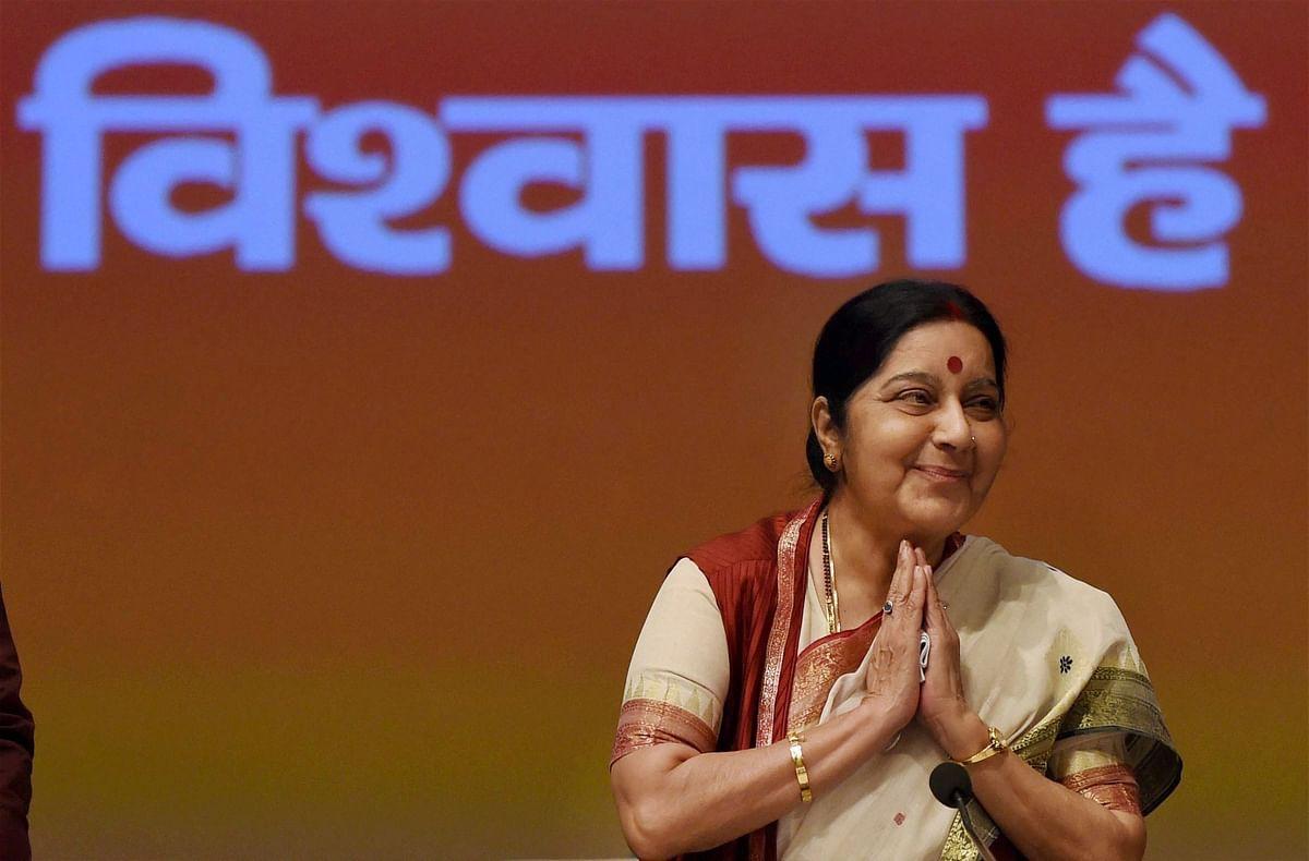 External Affairs Minister Sushma Swaraj at the BJP's 'Sabka Saath Sabka Vikas' programme in New Delhi. (Photo: PTI)