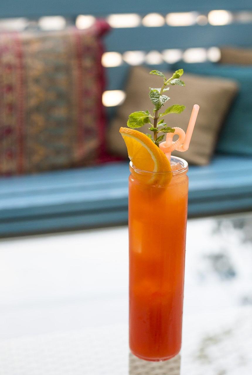 A flaming orange sky inspired the Narangi Cocktail. (Photo Courtesy: Lavaash by Saby and SodaBottleOpenerWala)
