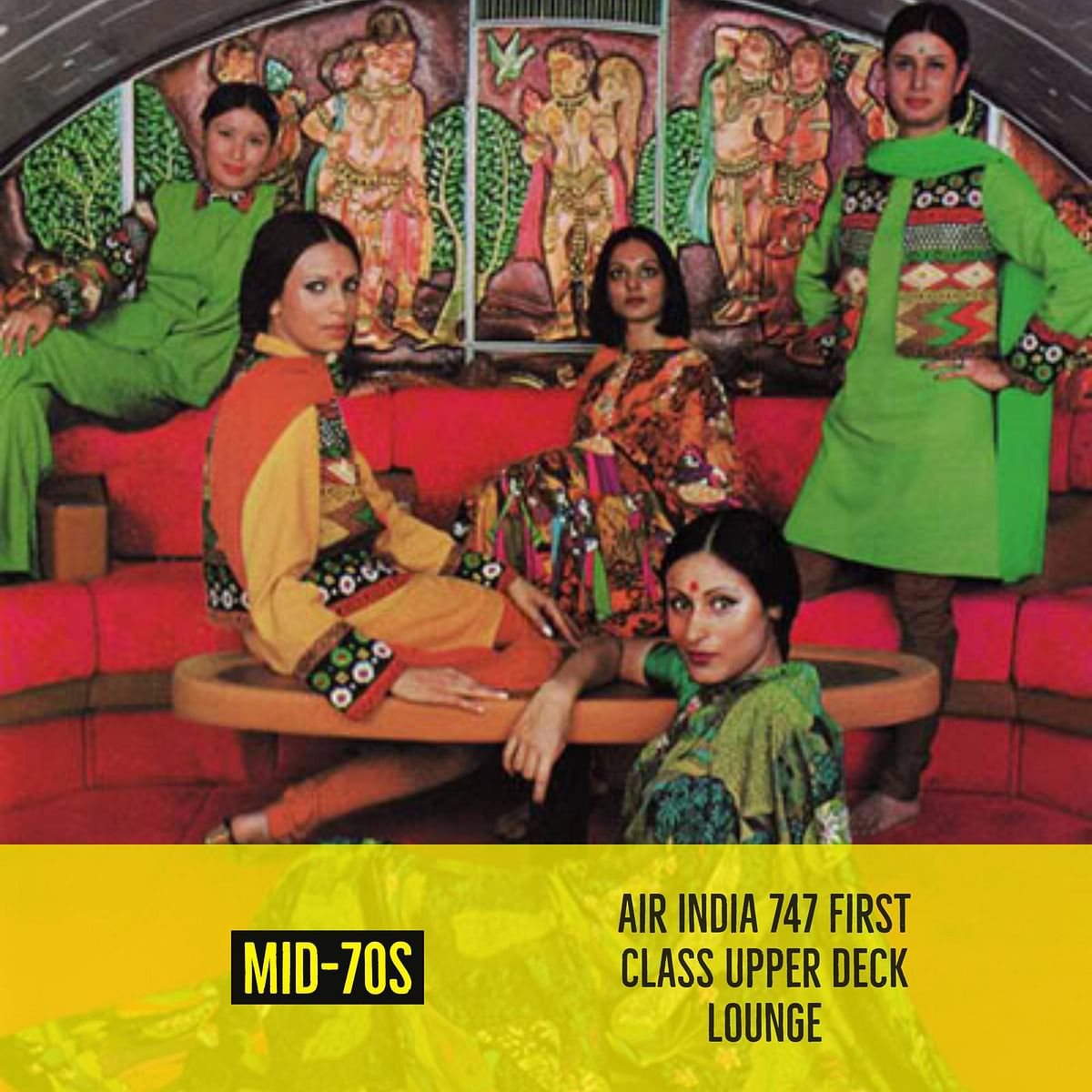 Air hostesses posing in a Boeing 747 upper deck bar lounge from the 1970s. (Photo Courtesy: Airliners India)