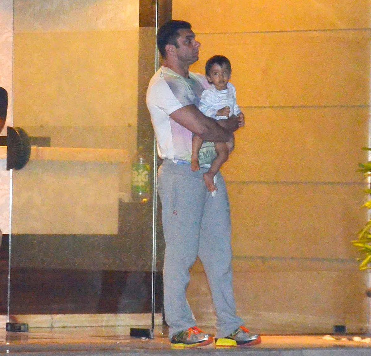 Sohail Khan with baby Ahil. (Photo: Yogen Shah)
