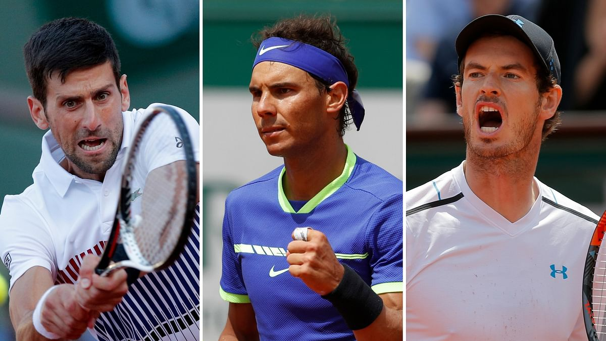 Novak Djokovic, Rafael Nadal and Andy Murray play in the French Open's quarter-final on Wednesday. (Photo: AP)