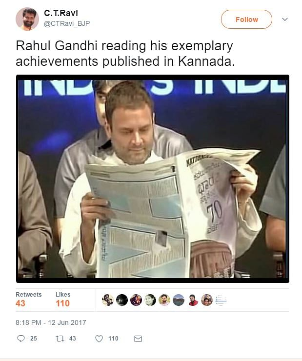 "The photo circulated by CT Ravi, alleging that he was reading a Kannada newspaper. (Photo Courtesy: <a href=""https://twitter.com/CTRavi_BJP/status/874277300807663618"">Twitter</a>/Screengrab)"