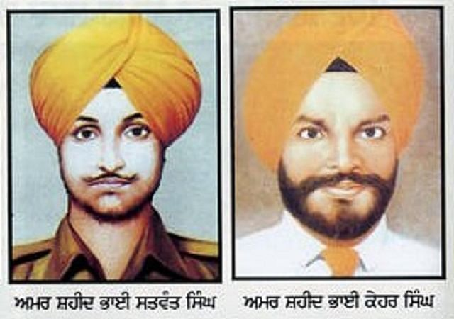 Mindful of the trust deficit in the Sikh community, Indira Gandhi recalled her Sikh bodyguards – Satwant Singh and Beant Singh. They are regarded by some as martyrs. (Photo Courtesy: Sikh Siyasat News)