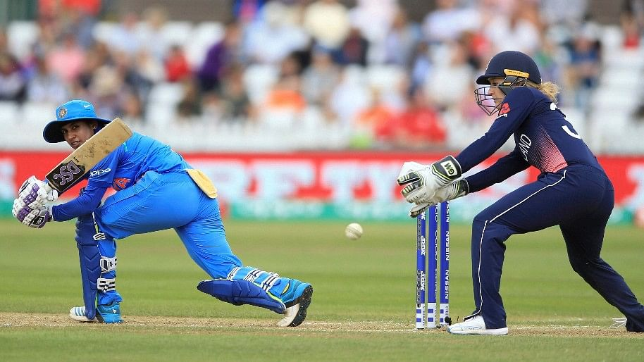 Mithali playing a sweep against England