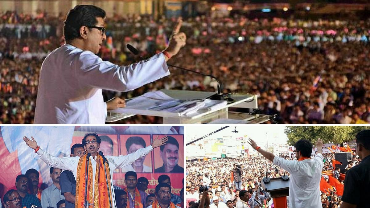 The iconic oratory style of the Thackerays. (Clockwise: Bal, Aditya and Uddhav Thackeray)